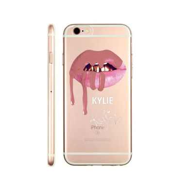 Sexy Graffiti Girl Kylie Lips Cover Case For iPhone 7 7Plus 6 6S 6Plus 5 5S SE Phone Case Transparent Hard plastic Cover