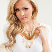 3 Rows of Beads Dangle Necklace