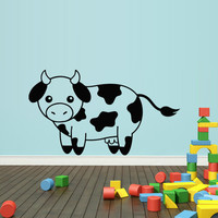 Wall decal decor decals art cow calf baby nursery cute cheerful cartoon (m494)