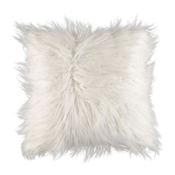 White Faux Mongolian Decorative Pillow 16 Print Pillows Decorative Pillows Home