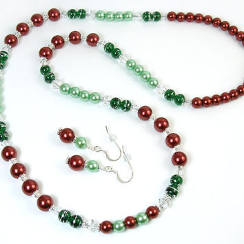 Christmas Jewelry Set, Holiday Red Green Necklace Earrings, Pearl Crystal Christmas Necklace, Festive Holiday Jewelry, Sparkly Party Jewelry