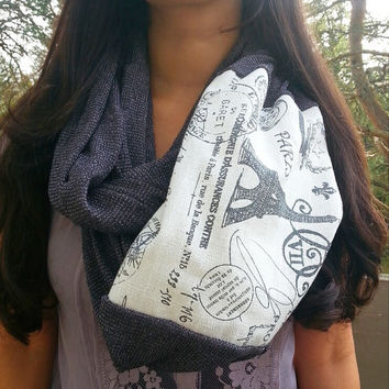 Paris Letter Infinity Scarf, Charcoal Gray soft Knit infinity scarf