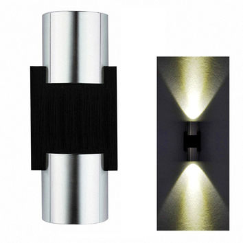 2W LED Wall Light Sconce Decor Fixture light lamp with Scattering Light Metal Straight Stick Body Hall Porch Bulb Wash light