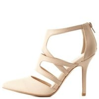 Strappy Snake-Textured Pointed Pumps by Charlotte Russe