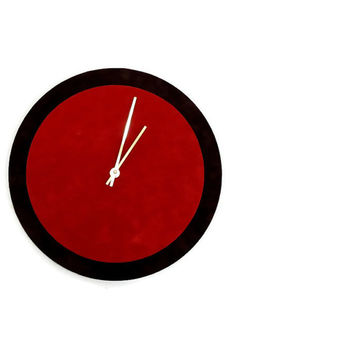 SALE Unique Wall Clock, Red and Brown Clock, Home and Living,  Home Decor, Decor and Housewares, Home and Living, Unique CLock
