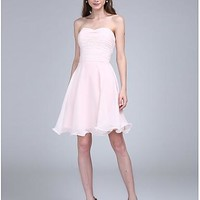 A-Line Spaghetti Strap Knee Length Chiffon Bridesmaid Dress with Ruched by LAN TING BRIDE®