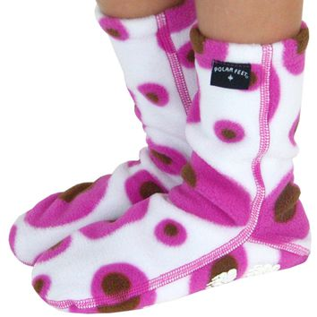 Kids' Nonskid Fleece Socks - Pink Martini