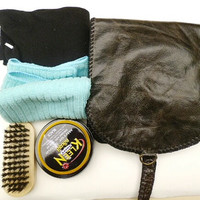 Mans shoe shine kit vintage black leather pouch