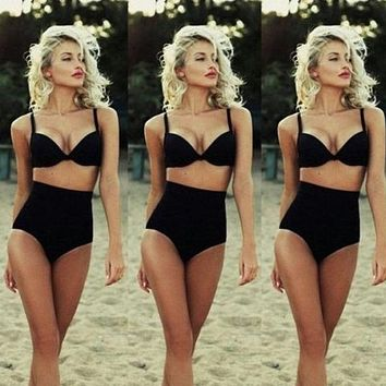 2017 Retro New Sexy Halter Push Up Bandeau Biquini Swim Wear Bathing Suit Swimsuit Plus Size Swimwear Women High Waist Bikini
