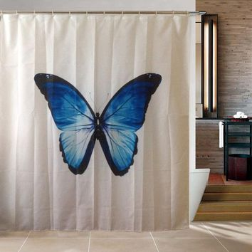 Luminous Butterfly Cartoon Shower Curtain Polyester Fabric Waterproof Bathroom Products Cortinas Para Rideau De Douche