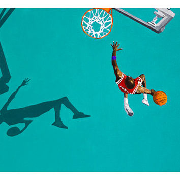 Photo print from an original painting of the NBA, Chicago Bulls, Michael Jordan. Teal colored court.