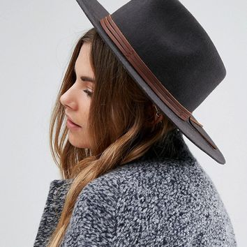 Brixton Drover Fedora with Real Leather Trim at asos.com