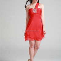 A-line One Shoulder Chiffon Short/Mini Red Beading Homecoming Dress at dressestore.co.uk