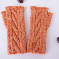 Mittens orange twisted pattern Fingerless gloves wool knitted Winter warm mittens Girl gift Idea