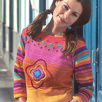 Summer sweater knitted sweater colorful sweater boho sweater rainbow top summer top pink yellow turquoise sweater summer top pullover jumper