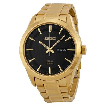 Seiko Solar Black Dial Gold-tone Mens Watch SNE368