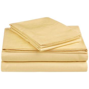 Twin Size 100-Percent Cotton 300 Thread Count Sheet Set in Straw Yellow
