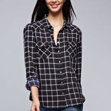 Bleach Wash Black and White Plaid Shirt