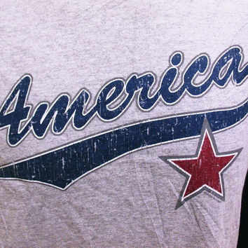Vintage AMERICA STAR T-Shirt American Print Holiday Tourist M