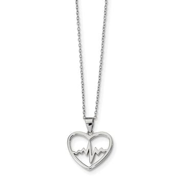 925 Sterling Silver Rhodium-Plated Heartbeat in Heart with 2 inch Extension Necklace 16 Inch