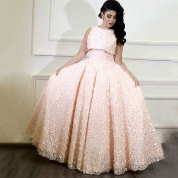 Real Photos Saudi Arabic Pink Long Evening Dresses O Neck 3D Appliques Lace Flowers Formal Gowns
