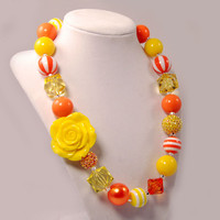 Girls Boutique Jewelry gumball necklace yellow and orange Chunky Beaded Necklace Beaded Flower Necklace