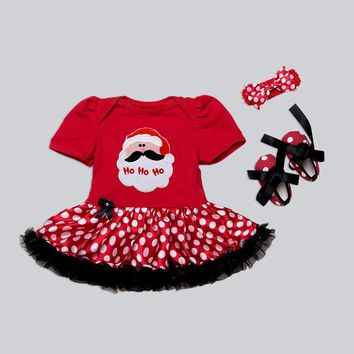 2017 Xmas Santa Costume Baby Girl Tutu Dress + headwear + shoes Infant Newborn Christmas Clothing for Party Children Clothes