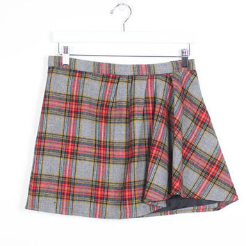 Vintage Grunge Skirt Gray Red Tartan Plaid Kilt 1990s Skirt Micro Mini Skirt Pleated Side Skater Skirt Low Slung Hip 90s Skirt J Crew Wool M