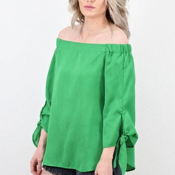 Off Shoulder Tie Sleeve Blouse {Emerald}