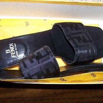 Fendi Zucca Logo Print black Slide Sandals size UK 37 US7
