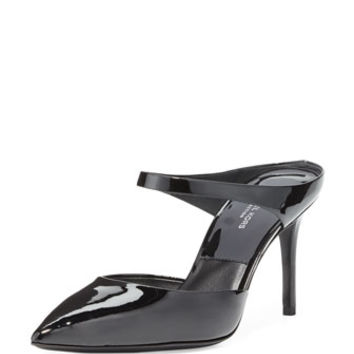 Michael Kors Collection Helene Patent Pointed-Toe Mule, Black