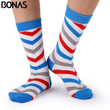 Bonas 3D Printing Cotton Socks Women Casual Hosiery Autumn Winter Men's Art Hot Sox Chaussettes Sokken Fashion Patterns Socks