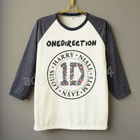 1D Flower Shirt 1D Shirt One Direction Shirt Rock Shirt Raglan Baseball Shirt Unisex Shirt Women Shirt Men Shirt Jersey Long Sleeve Shirt