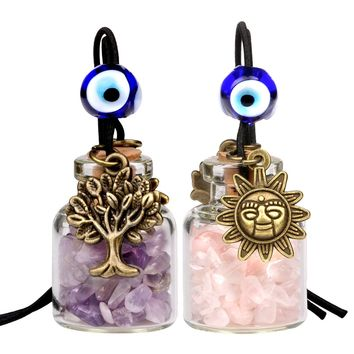 Tree of Life Magic Sun Powers Small Car Charms or Home Decor Bottles Amethyst Rose Quartz Amulets