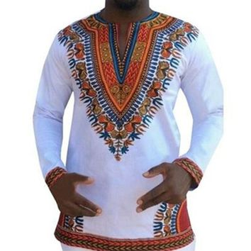 2018 Fashion Style Design Dashiki T shirt African Print Clothing Men Riche Traditional Africa T-shirt White Black African
