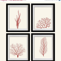 ON SALE Sea Coral Art Print - Deep Coral Red, Algae, Creamy White - Set of 4 - 8X10 - Off White, Fan Coral, Sea Plants - No. 004-1-S4