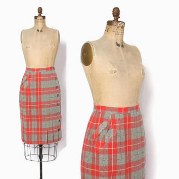 Vintage 40s Plaid SKIRT / 1940s Coral & Gray High Waisted Pleated Wool Skirt with Buttons and Pockets M