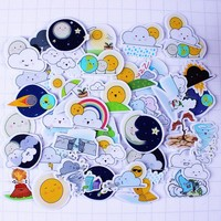 36pcs Self-made Cloud Moon Sun Weather Scrapbooking Floral Stickers DIY Craft DIY Sticker Pakc Photo Albums Deco Diary Deco