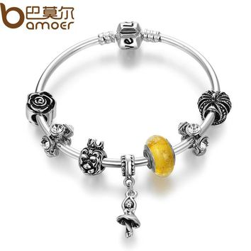 Silver Color Dancer Pendant & Murano Beads Bracelets & Bangles for Women Beauty and the Beast Jewelry PA3819