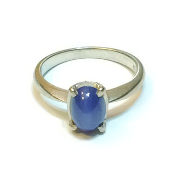 Vintage 14K White Gold Ring, Star Sapphire, Art Deco Style, Gemstone, Oval Cut, Simple Band, Size 5.5