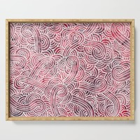 Burgundy red and white swirls doodles Serving Tray by savousepate