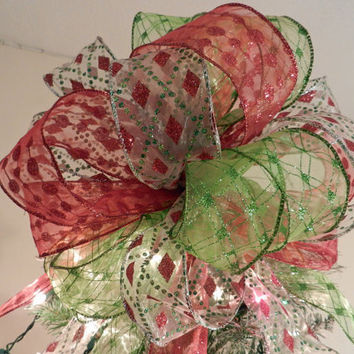 Large Christmas Tree topper bow 3 Sheer ribbons White, Red & Lime Green glitter diamonds and dots (tails 8 ft long) 9 ornament bows included