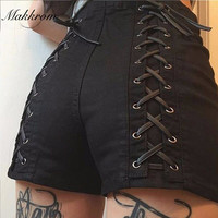 Fashion Shorts 2016 Autumn and Winter New Solid Women Shorts Cross Bandage High Waist Casual Short Pants