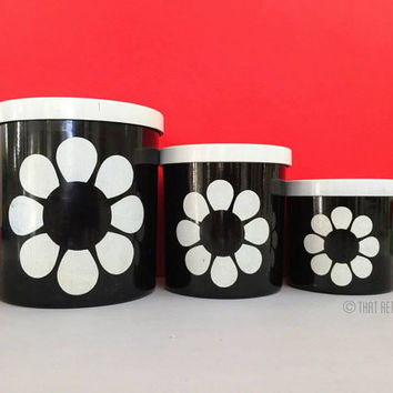 Retro kitchen canisters, set of three