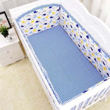 Baby 5 Piece Crib Bedding Set / Bumpers - 100 % Cotton - Free Shipping - Blue Chevrons