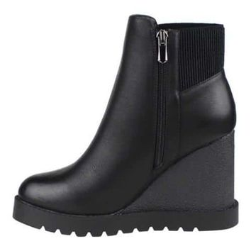 Women's Beston Atlas-3 Wedge Heel Boot Black Faux Leather | Overstock.com Shopping - The Best Deals on Boots