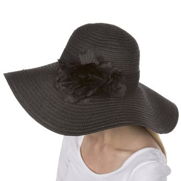 Sakkas Daisy UPF 50+ 100% Paper Straw Flower Accent Wide Brim Floppy Hat