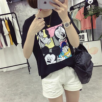 2017 Fashion New Short Sleeve kawaii T-shirts Plus Size Female t shirts Cartoon Print Top O-neck Women tshirts 72390