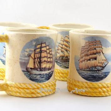 Nautical Ceramic Mugs with Clipper Ship Images -  Set of 4 by River Rock Arts on Etsy