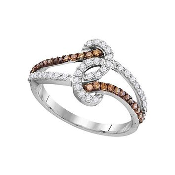 10kt White Gold Womens Round Brown Color Enhanced Diamond Strand Band Ring 1-2 Cttw